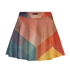 Colorful Warm Colored Quares Mini Flare Skirt by Brittlevirginclothing