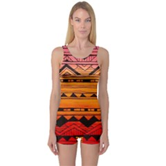 Warm Tribal One Piece Boyleg Swimsuit by Brittlevirginclothing