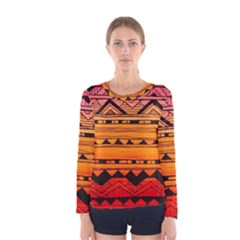 Warm Tribal Women s Long Sleeve Tee by Brittlevirginclothing