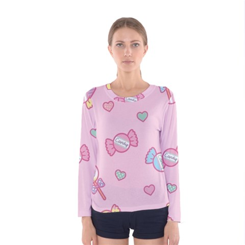 Cute Candy Women s Long Sleeve Tee by Brittlevirginclothing
