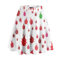 Beetle Animals Red Green Fly High Waist Skirt
