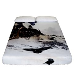 Birds Crows Black Ravens Wing Fitted Sheet (queen Size)