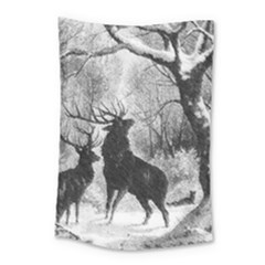 Stag Deer Forest Winter Christmas Small Tapestry by Amaryn4rt