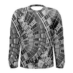 Semi Circles Abstract Geometric Modern Art Men s Long Sleeve Tee by CrypticFragmentsDesign