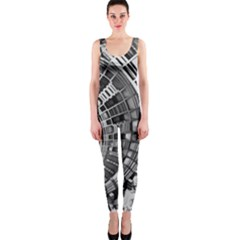 Semi Circles Abstract Geometric Modern Art Onepiece Catsuit by CrypticFragmentsDesign