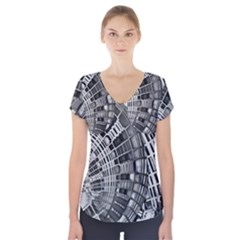 Semi Circles Abstract Geometric Modern Art Short Sleeve Front Detail Top by CrypticFragmentsDesign