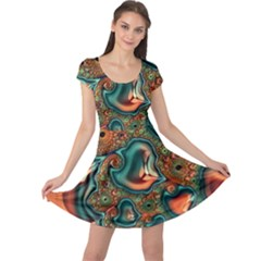 Painted Fractal Cap Sleeve Dresses by Fractalworld