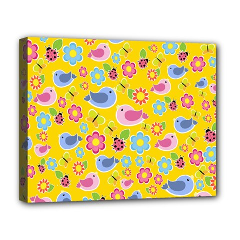 Spring Pattern   Yellow Deluxe Canvas 20  X 16   by Valentinaart