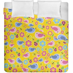 Spring Pattern   Yellow Duvet Cover Double Side (king Size) by Valentinaart