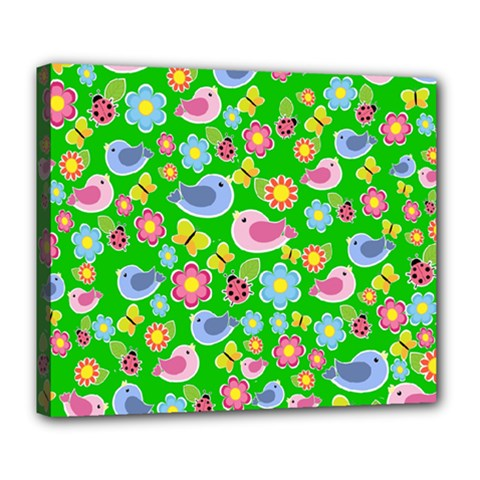 Spring Pattern   Green Deluxe Canvas 24  X 20   by Valentinaart