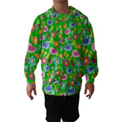 Spring Pattern   Green Hooded Wind Breaker (kids)