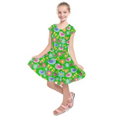 Spring Pattern   Green Kids  Short Sleeve Dress by Valentinaart