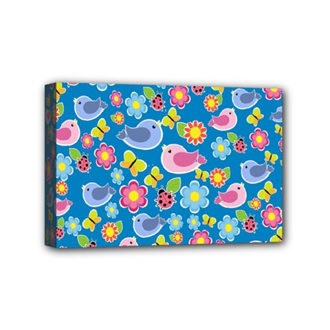 Spring Pattern   Blue Mini Canvas 6  X 4  by Valentinaart