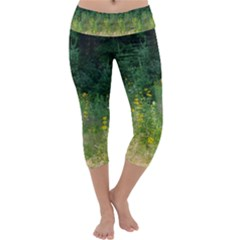 Greenery And Black-eyed Susans Capri Yoga Leggings by SusanFranzblau