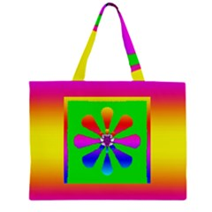 Flower Mosaic Zipper Large Tote Bag by pepitasart