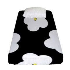 April Fun Pop Floral Flower Black White Yellow Rose Fitted Sheet (single Size) by Jojostore
