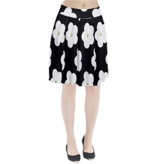 April Fun Pop Floral Flower Black White Yellow Rose Pleated Skirt