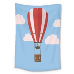 Air Ballon Blue Sky Cloud Large Tapestry by Jojostore