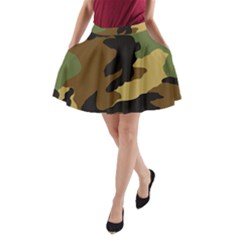 Army Camouflage A Line Pocket Skirt by Jojostore