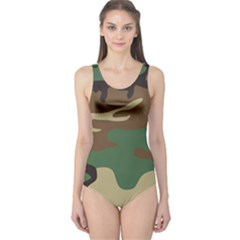 Army Shirt Green Brown Grey Black One Piece Swimsuit
