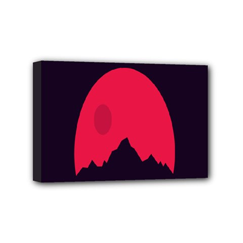 Awesome Photos Collection Minimalist Moon Night Red Sun Mini Canvas 6  X 4  by Jojostore