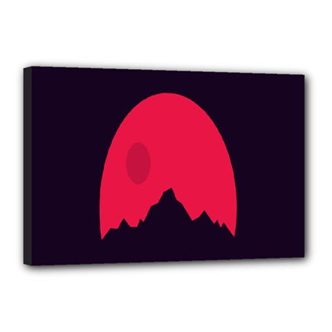 Awesome Photos Collection Minimalist Moon Night Red Sun Canvas 18  X 12