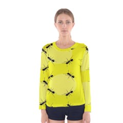 Ant Yellow Circle Women s Long Sleeve Tee by Jojostore