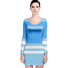 Blue Horizon Graphic Simplified Version Long Sleeve Velvet Bodycon Dress