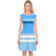 Blue Horizon Graphic Simplified Version Capsleeve Midi Dress