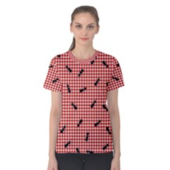 Ant Red Gingham Woven Plaid Tablecloth Women s Cotton Tee