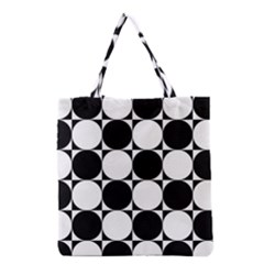 Circles Black White Grocery Tote Bag by Jojostore