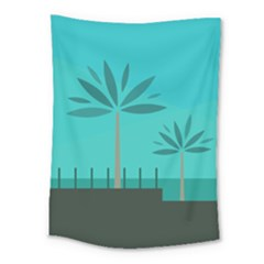Coconut Palm Trees Sea Medium Tapestry by Jojostore