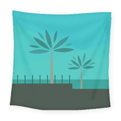 Coconut Palm Trees Sea Square Tapestry (large)