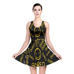 Bored Face Smile Sign Yellow Black Mask Reversible Skater Dress
