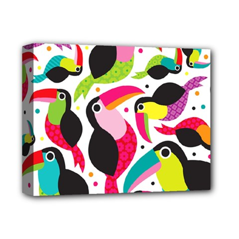 Colorful Toucan Retro Kids Pattern Bird Animals Rainbow Purple Flower Deluxe Canvas 14  X 11  by Jojostore