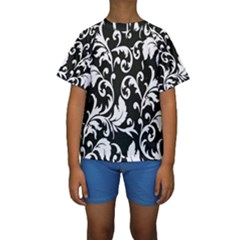 Clasic Floral Flower Black Kids  Short Sleeve Swimwear