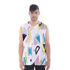 Design Elements Illustrator Elements Vasare Creative Scribble Blobs Yellow Pink Blue Men s Basketball Tank Top