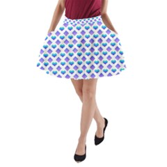 Diamond Heart Card Purple Valentine Love Blue A Line Pocket Skirt