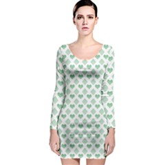 Diamond Heart Card Purple Valentine Love Blue Green Long Sleeve Bodycon Dress