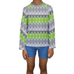 Egg Wave Chevron Green Grey Kids  Long Sleeve Swimwear by Jojostore