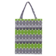 Egg Wave Chevron Green Grey Classic Tote Bag