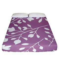 Floral Flower Leafpurple White Fitted Sheet (queen Size)