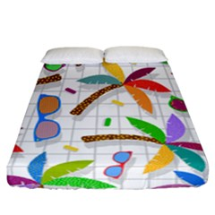 Glasses Coconut Tree Color Rainbow Purple Yellow Orange Green Red Pink Brown Line Fitted Sheet (california King Size)