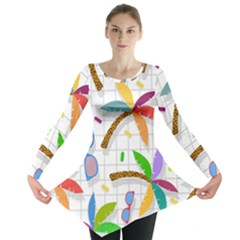 Glasses Coconut Tree Color Rainbow Purple Yellow Orange Green Red Pink Brown Line Long Sleeve Tunic