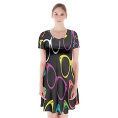 Glasses Color Pink Mpurple Green Yellow Blue Rainbow Black Short Sleeve V Neck Flare Dress