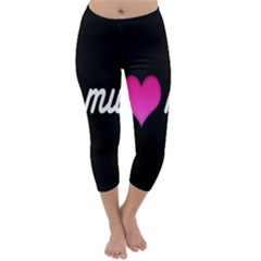 I Love Moom Mum Pink Valentine Heart Capri Winter Leggings