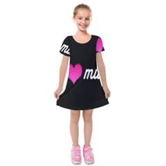 I Love Moom Mum Pink Valentine Heart Kids  Short Sleeve Velvet Dress