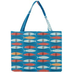 Go Fish  Fishing Animals Sea Water Beach Red Blue Orange Grey Mini Tote Bag by Jojostore