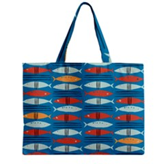 Go Fish  Fishing Animals Sea Water Beach Red Blue Orange Grey Zipper Mini Tote Bag by Jojostore