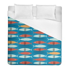 Go Fish  Fishing Animals Sea Water Beach Red Blue Orange Grey Duvet Cover (full/ Double Size) by Jojostore